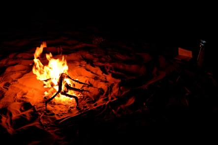 Camp fire in Wahiba Sands