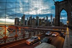 New York/USA - 1/3/18 - Traffic making its way across Brooklyn Bridge at sunset